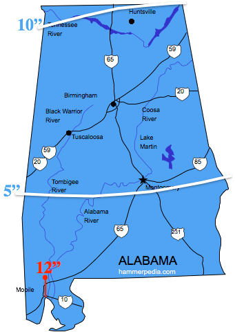 Alabama Frost Line Map